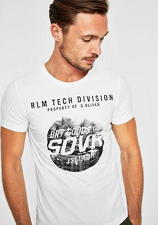 Slim: jersey shirt met labelprint