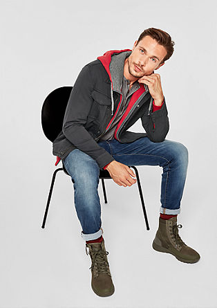 Outerwear jack in een garment-washed look