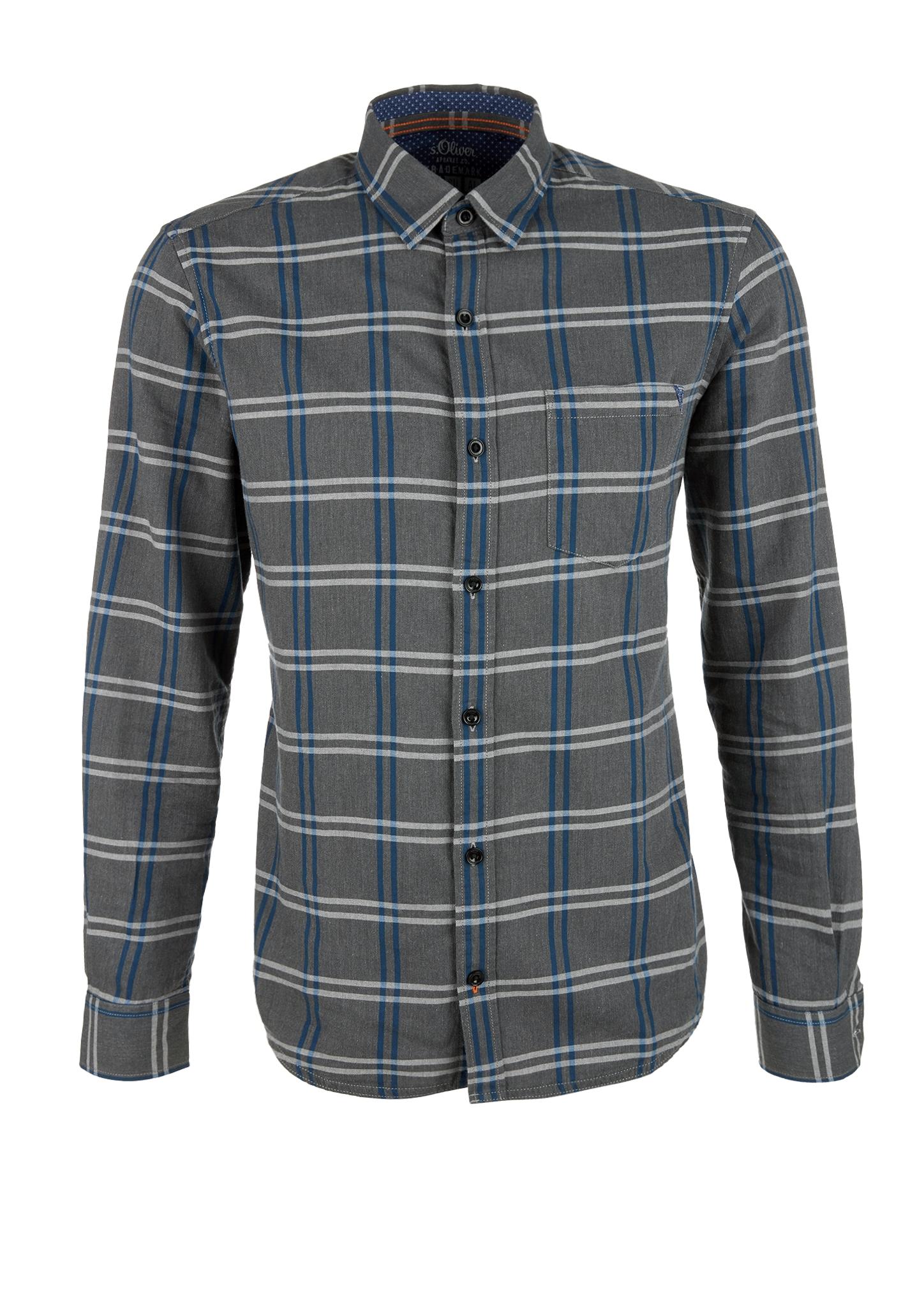 Karohemd | Bekleidung | Grau/schwarz | 100% baumwolle | s.Oliver