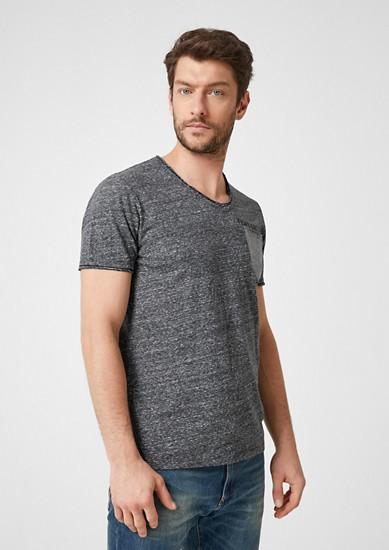Meliertes Shirt mit Kontrast-Detail