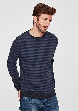 Črtast pulover iz fine pletenine
