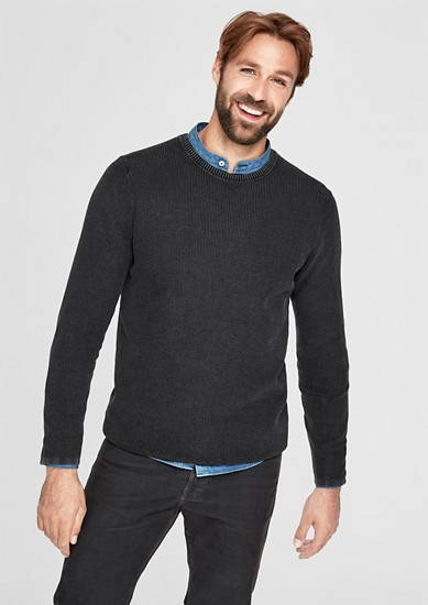 Textured knit jumper in a garment wash from s.Oliver