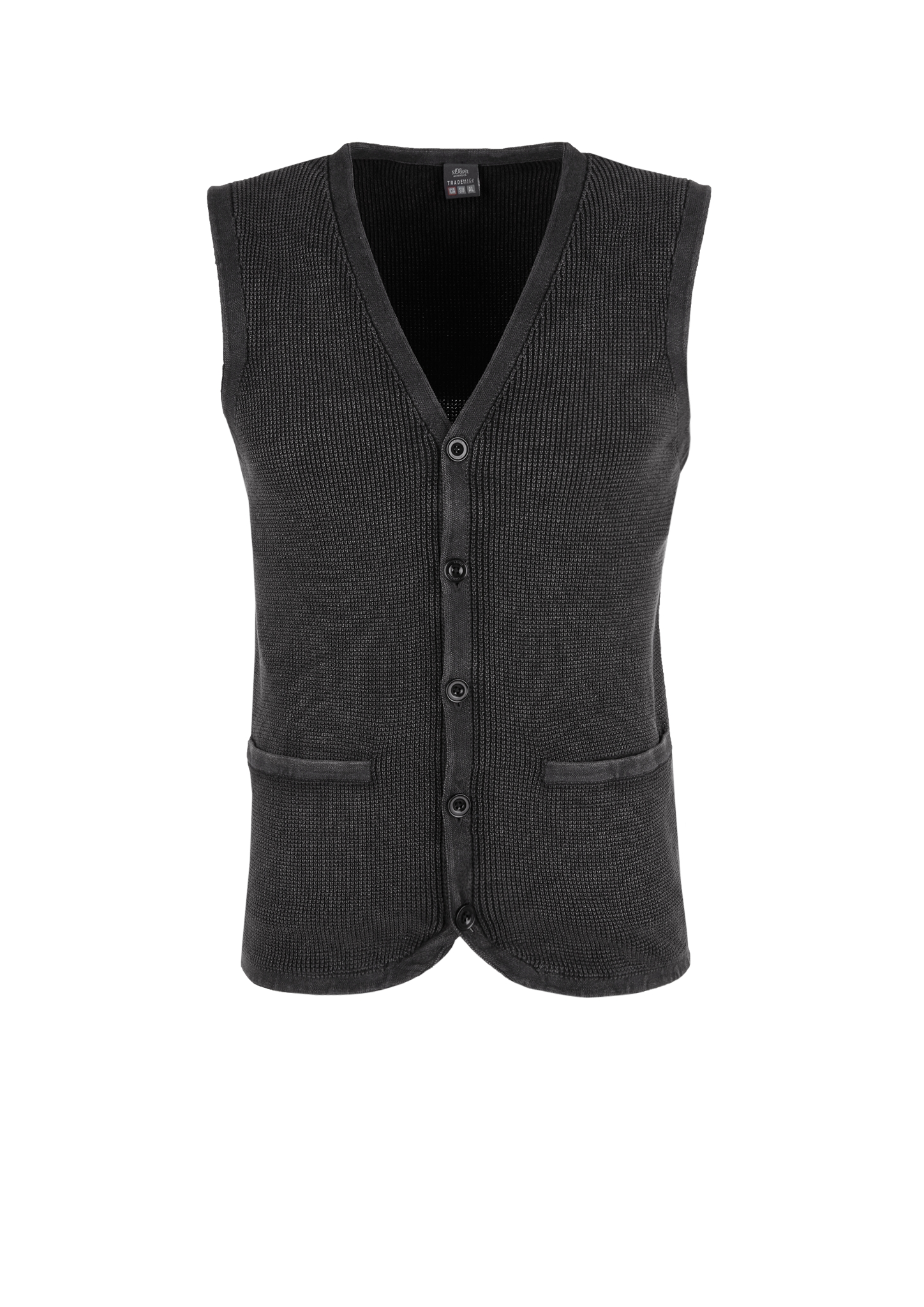 Strickweste | Bekleidung > Westen > Strickwesten | Grau/schwarz | 100% baumwolle | s.Oliver
