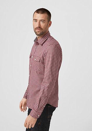 Slim: keprová košile s károvaným vzorem