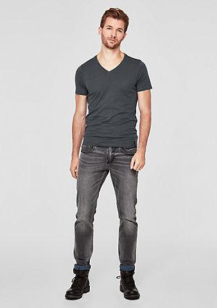 Slim: Basic shirt met een V-hals