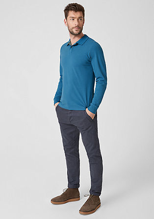 Polokošilové tričko s dlouhým rukávem, z bavlněného piké