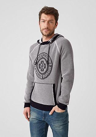 Jacquard hoodie met kangoeroezak