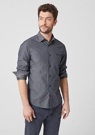 Slim: Strukturiertes Baumwollhemd