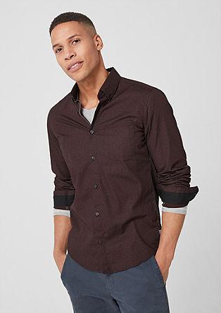 Slim: katoenen overhemd met motief