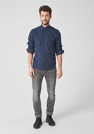 Regular: gestructureerd overhemd van corduroy