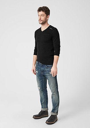 Slim: Langarmshirt mit feinen Streifen