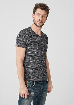 V-Neck-Shirt mit Melange-Effekten