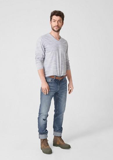 Tubx Regular: Used Jeans mit Gürtel