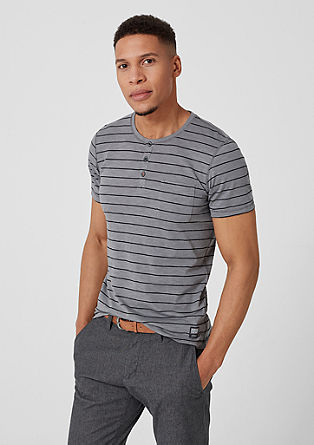 Slim: Henley with textured stripes from s.Oliver