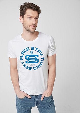 Slim: jersey shirt met print op de voorkant