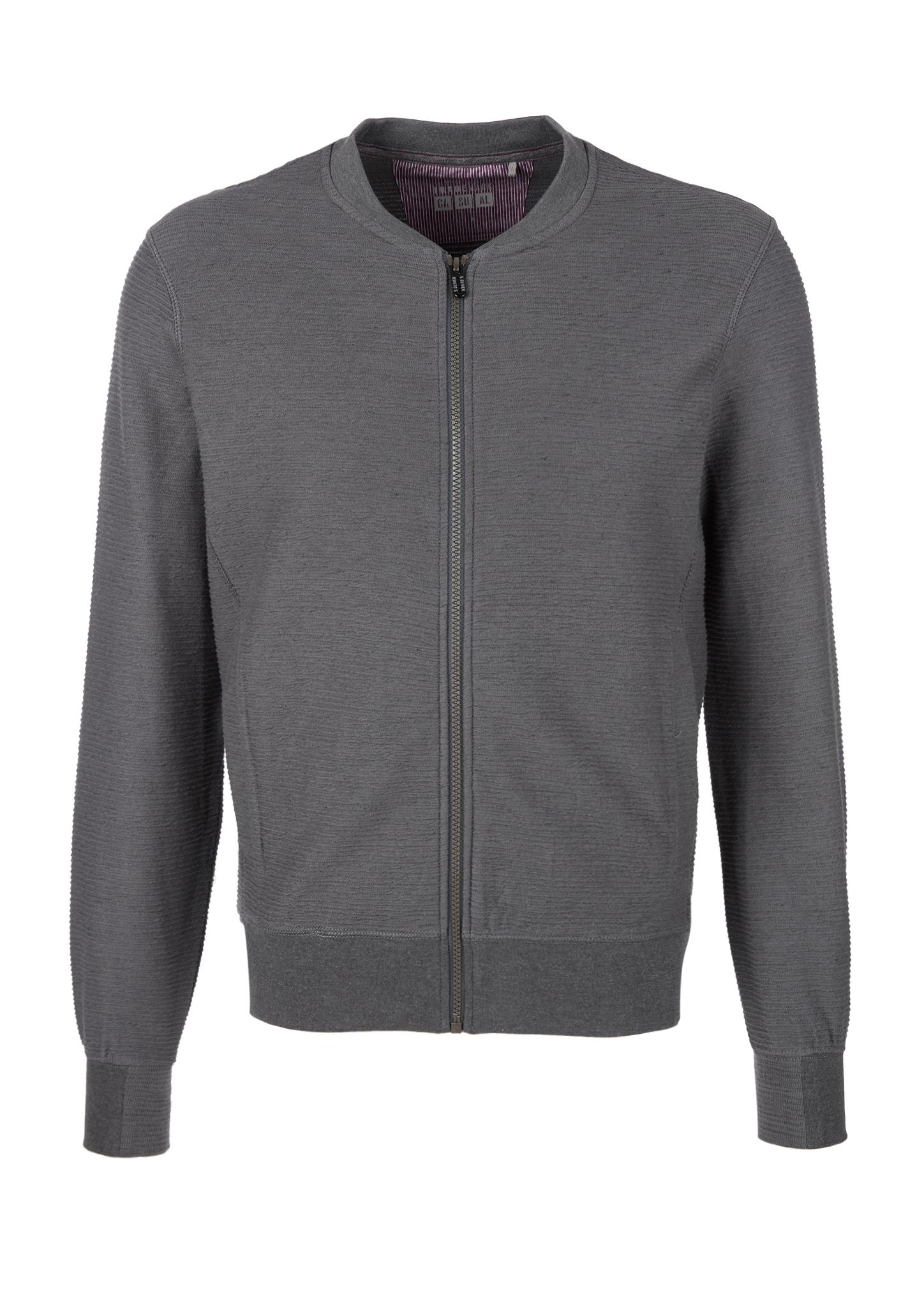 Blouson-Sweatjacke   Bekleidung > Sweatshirts & -jacken > Sweatjacken   Grau/schwarz   Oberstoff: 92% baumwolle -  8% polyester  kragen/bund: 72% baumwolle -  23% polyester -  5% elasthan   s.Oliver
