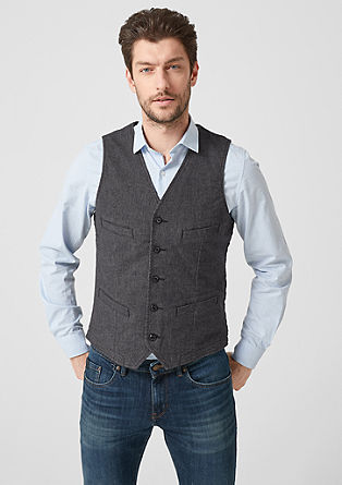 Cotton waistcoat with chambray lining from s.Oliver