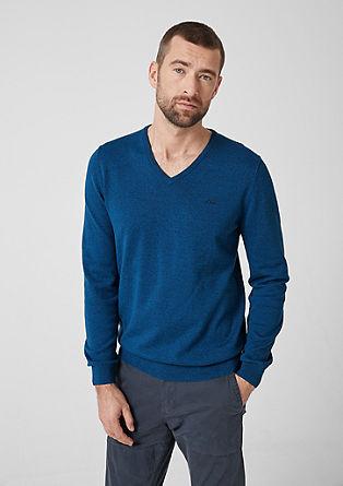 Bombažni pulover z V-izrezom