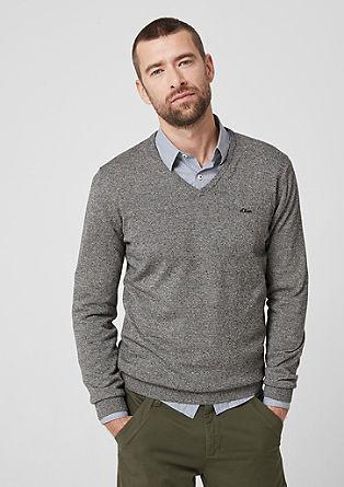 Bavlněný pulovr se špičatým výstřihem