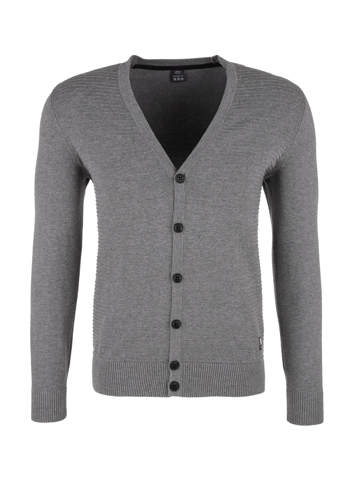Strickjacke   Bekleidung > Strickjacken & Cardigans   Grau/schwarz   100% baumwolle   s.Oliver