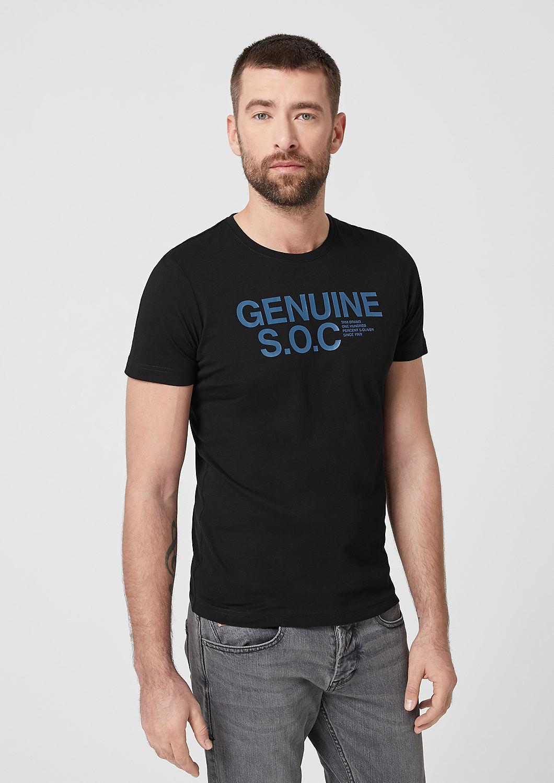 s.Oliver - Slim: T-shirt en jersey animé d'une inscription - 1