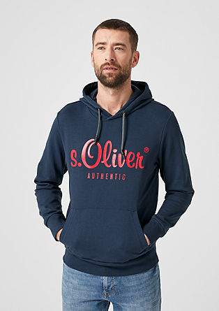Sweatshirt pulover s kapuco z natisnjenim logotipom