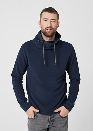 Sweatshirt pulover s teksturo in širšim puli ovratnikom