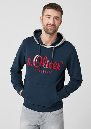Hooded sweatshirt with a logo print from s.Oliver