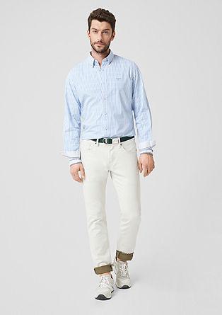 Slim: overhemd met strepen en stretch