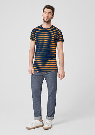 Slim: Casual gestreept shirt van piqué