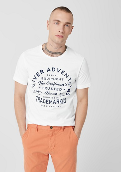 Slim: T-Shirt mit Flockprint