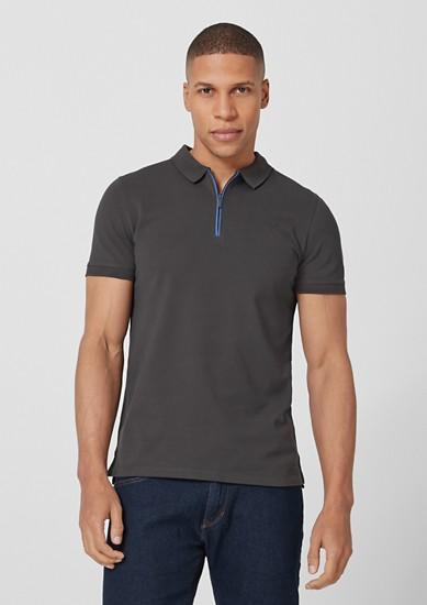 Slim: Poloshirt mit Kontrast-Zipper