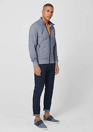Sweatshirt jacket with mini stripes from s.Oliver
