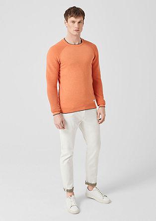 Fijngebreide trui met geribde mouwen
