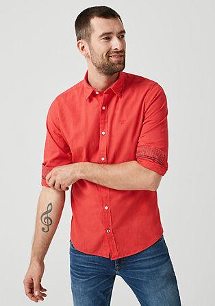 Slim: Hemd aus Leinenmix