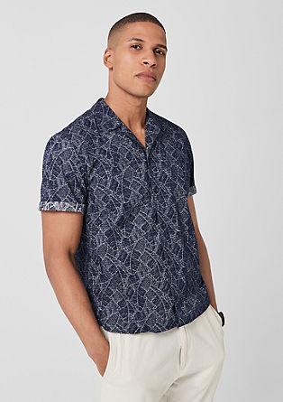Slim: overhemd met korte mouwen en motiefprint