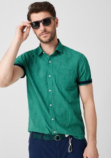 Regular: overhemd met geweven motief