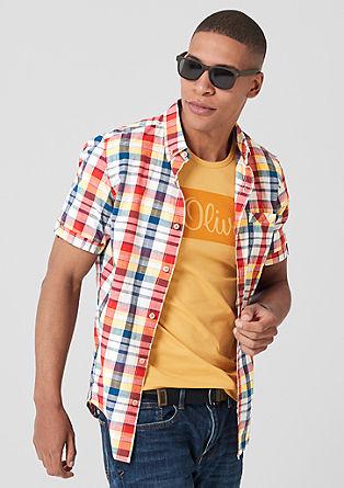 Slim: geruit overhemd met korte mouwen
