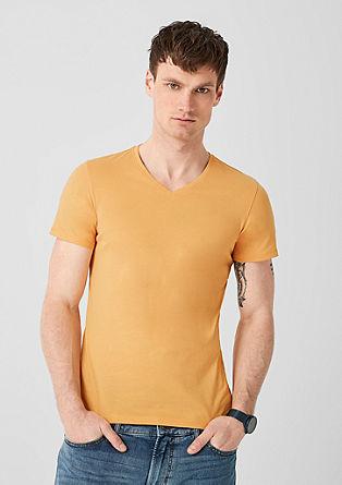 Slim: basic shirt met V-hals