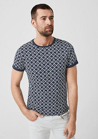 Slim: Shirt mit Ethno-Strukturprint