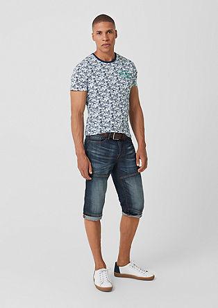 Slim: jersey shirt met tropische print