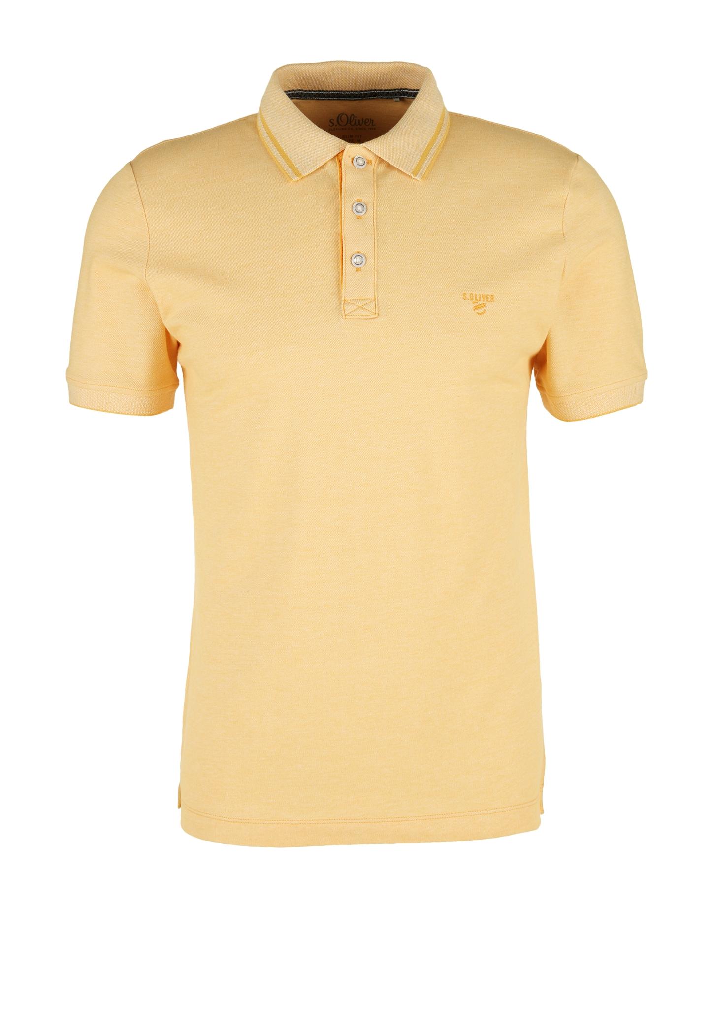 Melange-Poloshirt | Bekleidung > Polo Shirts > Langarm | Orange | 97% baumwolle -  3% elasthan | s.Oliver