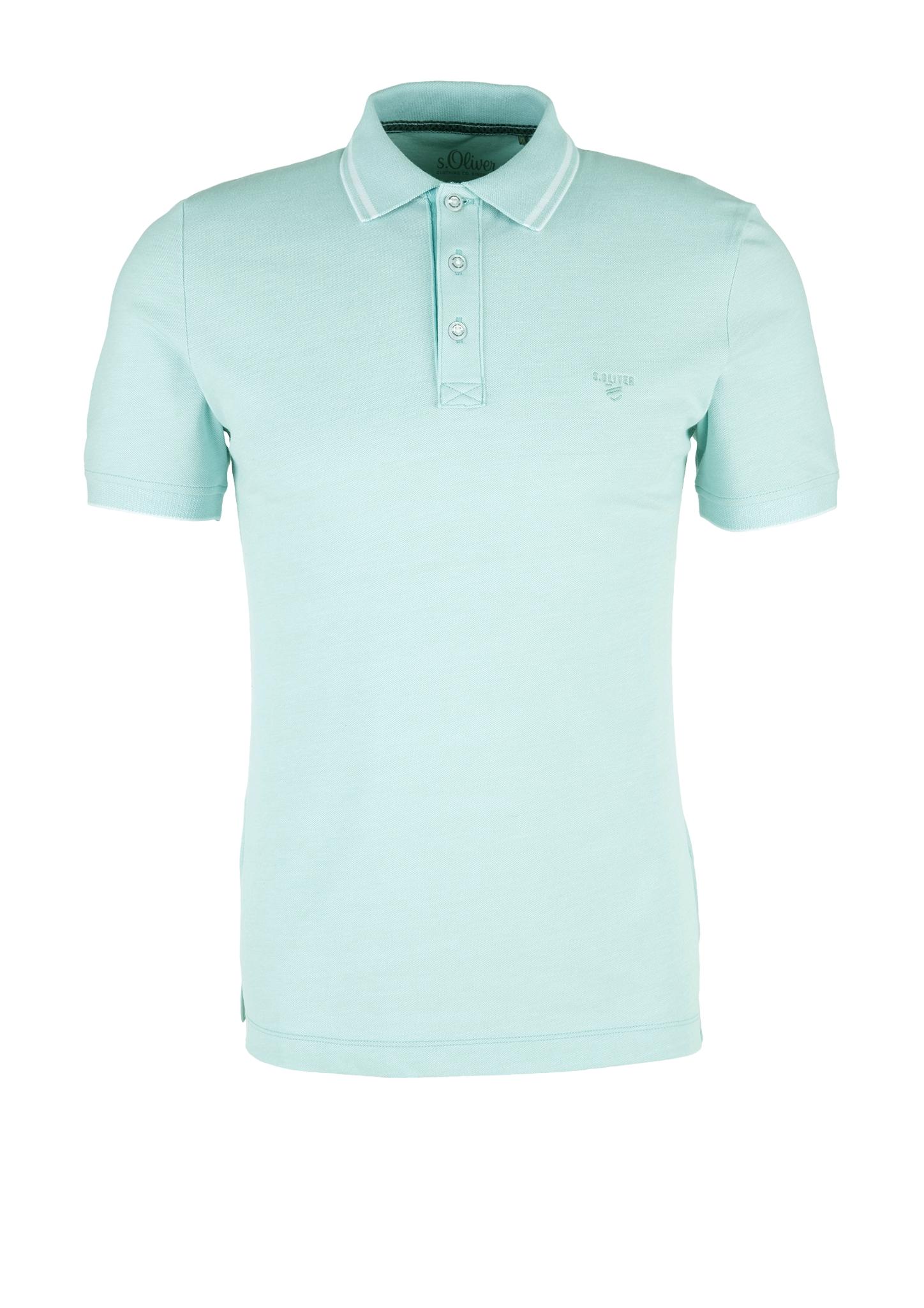 Melange-Poloshirt | Bekleidung > Polo Shirts > Langarm | Türkis | 97% baumwolle -  3% elasthan | s.Oliver