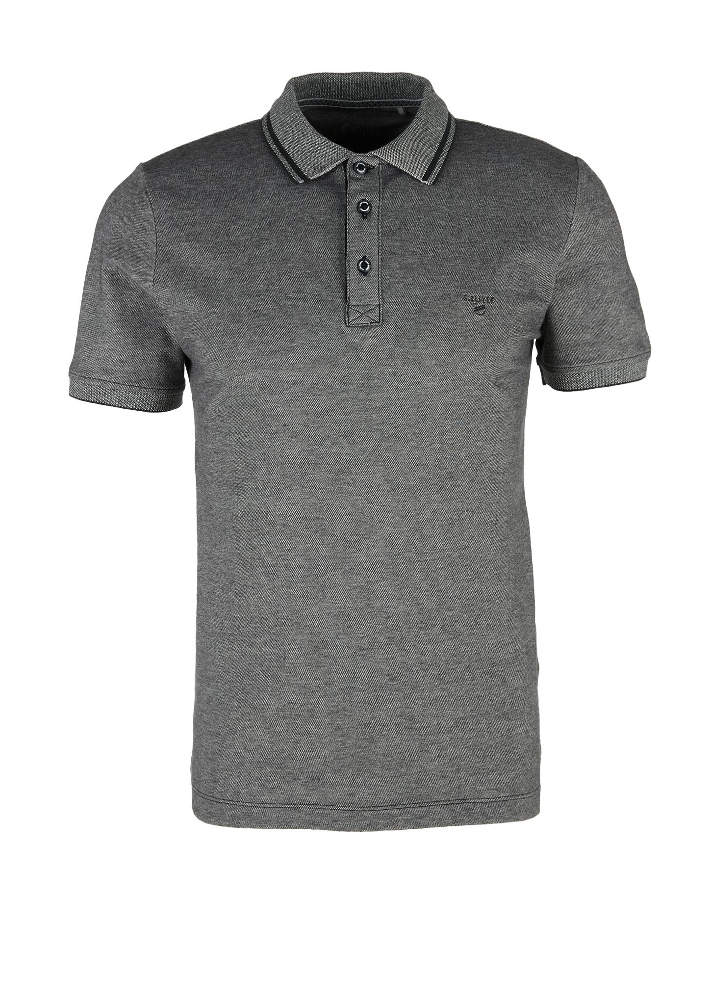Melange-Poloshirt | Bekleidung > Polo Shirts > Langarm | Grau | 97% baumwolle -  3% elasthan | s.Oliver