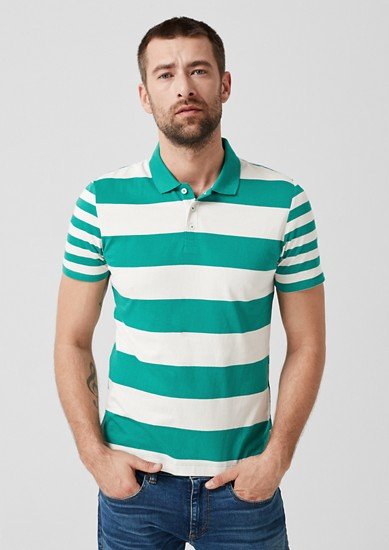 Jersey polo shirt with stripes from s.Oliver