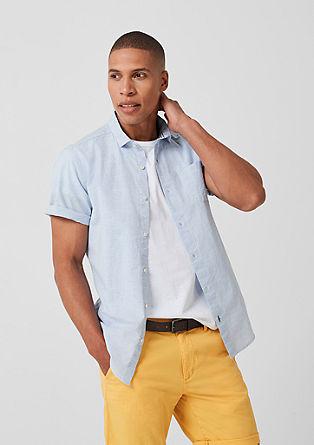 Slim: Hemd mit Leinenanteil