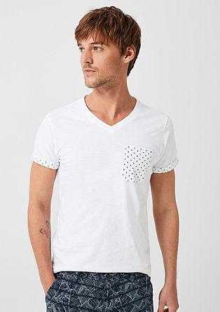 Tričko z žíhané příze s malými natištěnými detaily