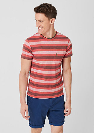 Črtasta majica z vezenino
