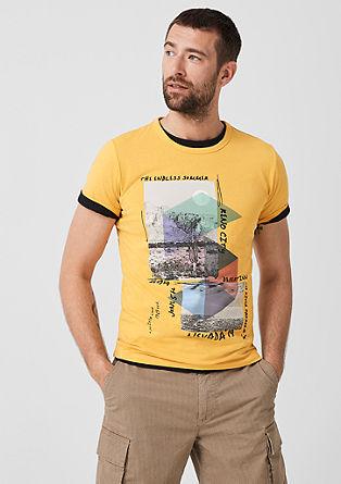 Slim: T-shirt met een collageprint