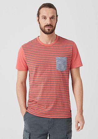 Slim: Flammgarnshirt im Streifen-Look